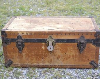 Vintage Trunk American Hardware Co Brown Black Low Profile Steamer Footlocker Drawer 1940s Travel Trunk PanchosPorch