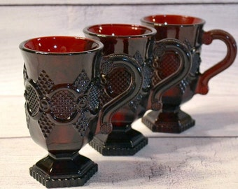 Vintage Cape Cod Ruby Mug Set of 3 Avon Deep Red Pedestal Mug Retro Glassware PanchosPorch