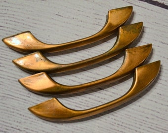 Vintage Copper Plated Drawer Pull Set of 4 Mid Century Cabinet Hardware Restoration Project MCM Kitchen PanchosPorch