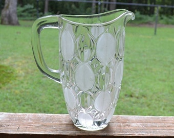 Vintage Heavy Glass Drink Pitcher Clear Frosted Long Oval Pattern Polished Bottom Iced Tea Lemonade Serving Pitcher Panchosporch