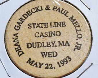 Vintage Wooden Nickel State Line Casino Wedding Dudley Massachusetts Souvenir Wood Token Coin Advertising Memorabilia PanchosPorch