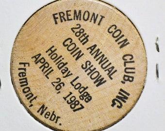 Vintage Wooden Nickel Freemont Coin Club 1987 Nebraska Souvenir Wood Token Coin Advertising Memorabilia PanchosPorch
