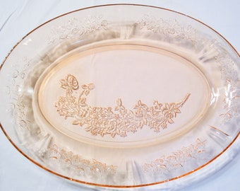 Vintage Snack Plate with Pink Rose Design Replacement Craft Supplies PanchosPorch