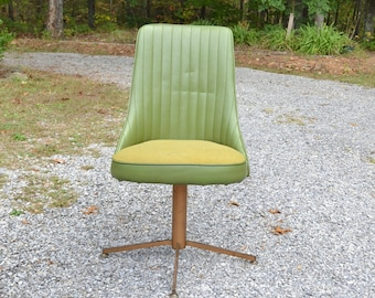 Vintage Chromecraft Swivel Chair Green Vinyl Upholstered Seat All Original  PanchosPorch