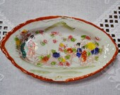 Vintage Oval Dish Geisha with Flowers Satsuma Imari Kutani Asian Home Decor Japan PanchosPorch