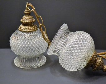 Vintage Table Lamp Frosted White Glass Gold Floral Design