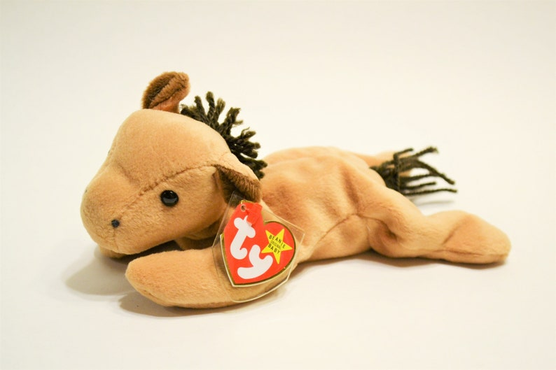 Vintage Ty Derby Beanie Baby Plush Toy Brown Horse Collectible image 0