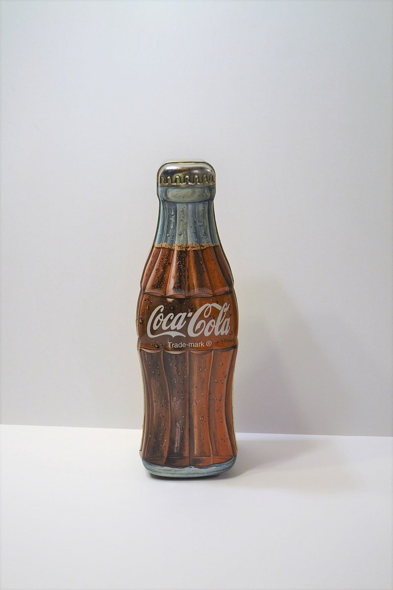 Vintage Coca Cola Bottle Shape Tin with Hinged Lid 13 inch 1997 Advertising Tin Box Panchosporch