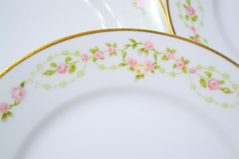 Vintage Theodore Haviland Limoges Bread Plate Set of 5 Pink image 0