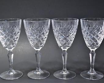 Vintage Clear Crystal Wine Glass Set of 4 Criss Cross Diamond Pattern Elegant Glassware Toasting Glasses PanchosPorch