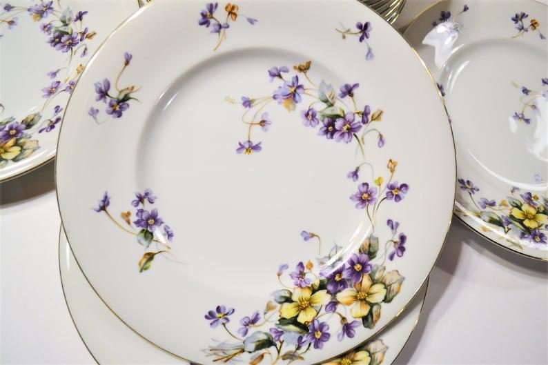 Vintage Meito Adele Dinner Plate Set of 12 Purple Violet image 0