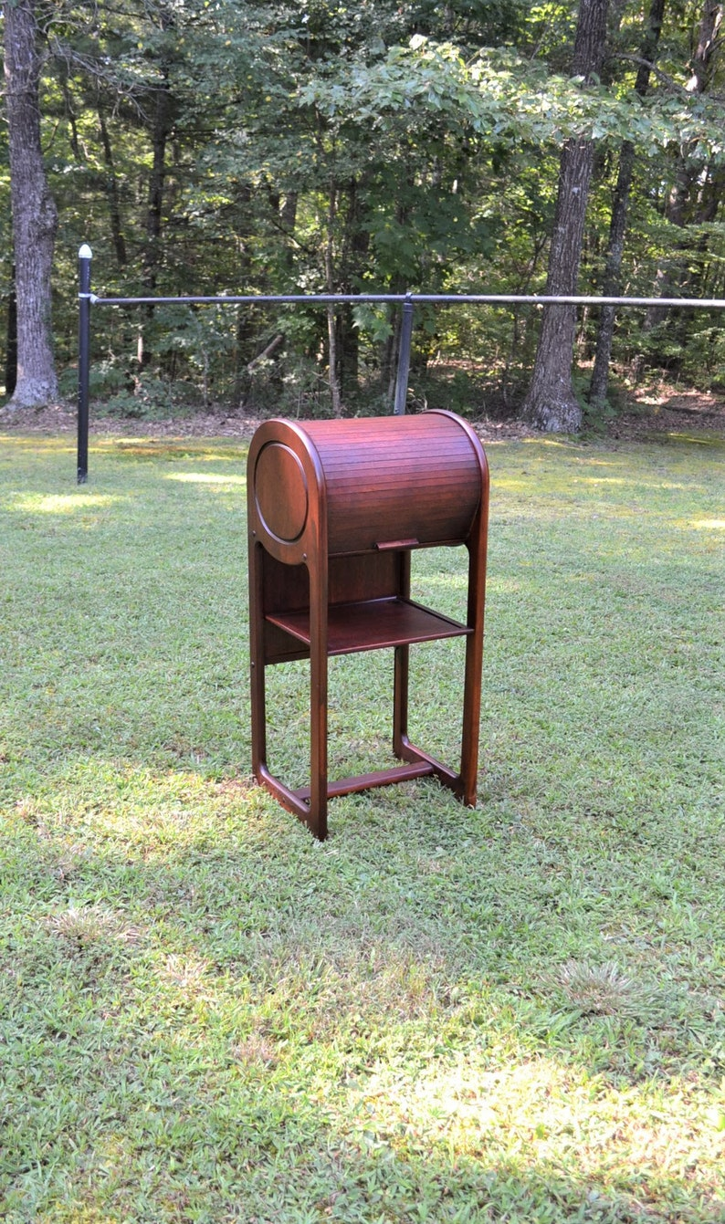 Vintage Roll Top Telephone Stand Laptop Desk Tambour Danish image 0
