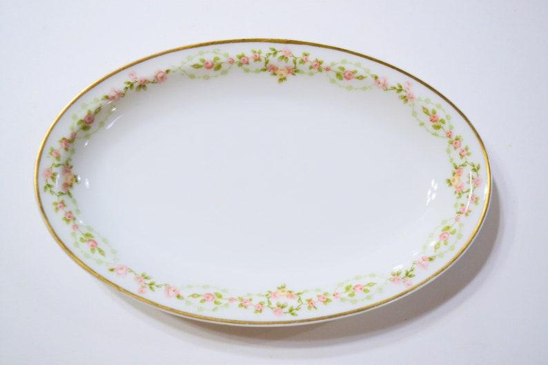 Vintage Theodore Haviland Limoges Oval Serving Platter Pink image 0