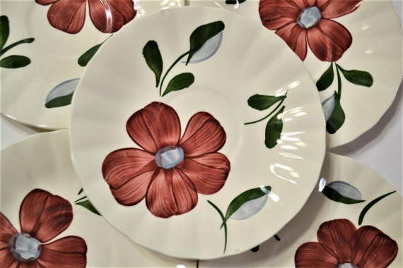 Vintage Blue Ridge Pottery Dinner Plate Set of 3 Red Flowers Hand Painted SPI Southern Pottery PanchosPorch