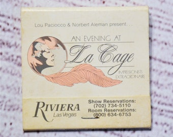 Vintage Riviera Hotel Casino Matchbook Pink Black La Cage Las Vegas Souvenir Advertising Collectible Paper Ephemera Tobacciana PanchosPorch