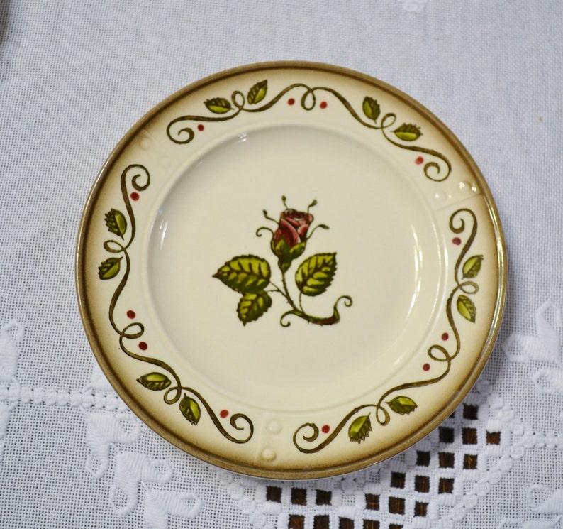 Vintage Metlox Poppytrail Provincial Rose Bread Plate Set of 3 image 0