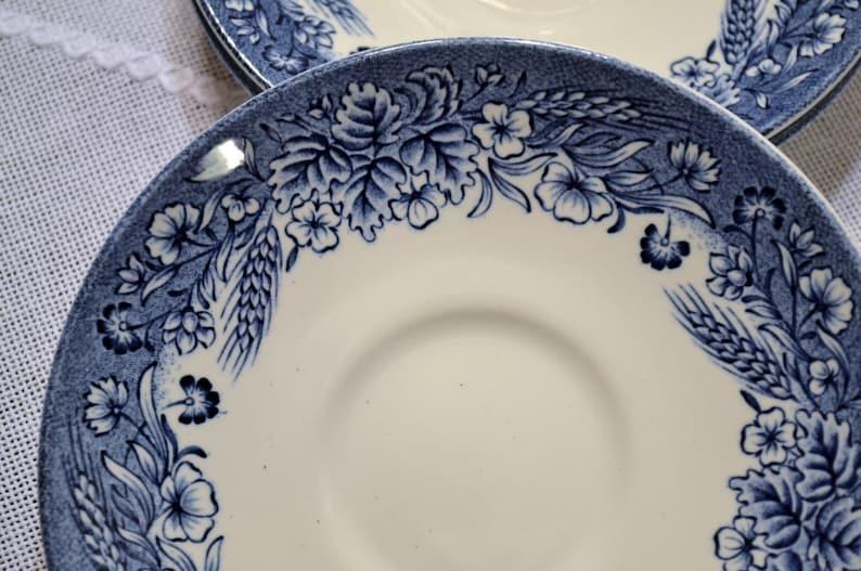 Vintage Churchill Blue Harvest Saucer Set of 3 England Blue image 0