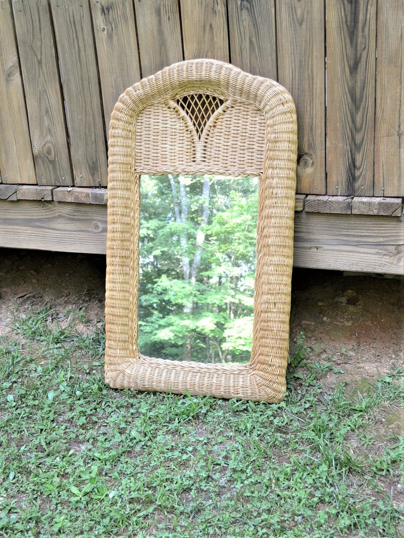 Vintage Large Wicker Mirror Natural Rattan Wall Mirror Entry image 0
