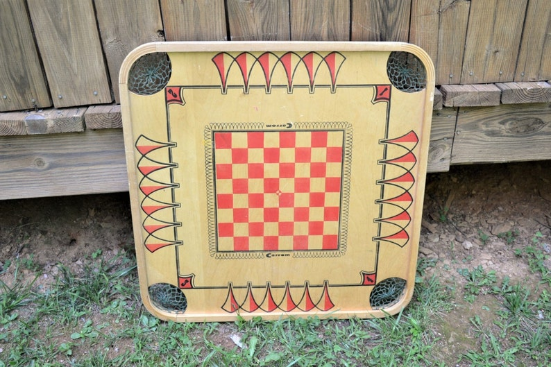 Vintage Carrom Game Board Checkers Table Top Wooden Game Wall image 0