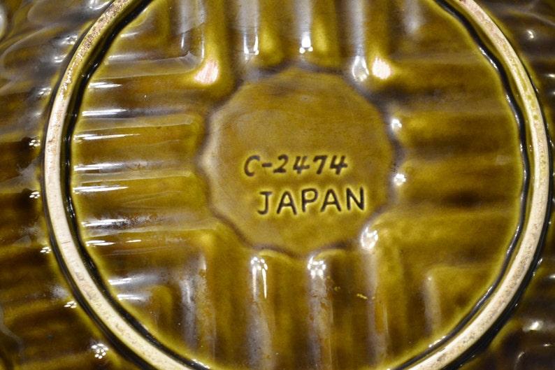 Retro Ceramic Ashtray Avocado Green Vintage Decor Japan PanchosPorch