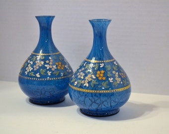 RESERVED Pair Vintage Art Glass Vases Blue Painted Flowers Handmade PanchosPorch