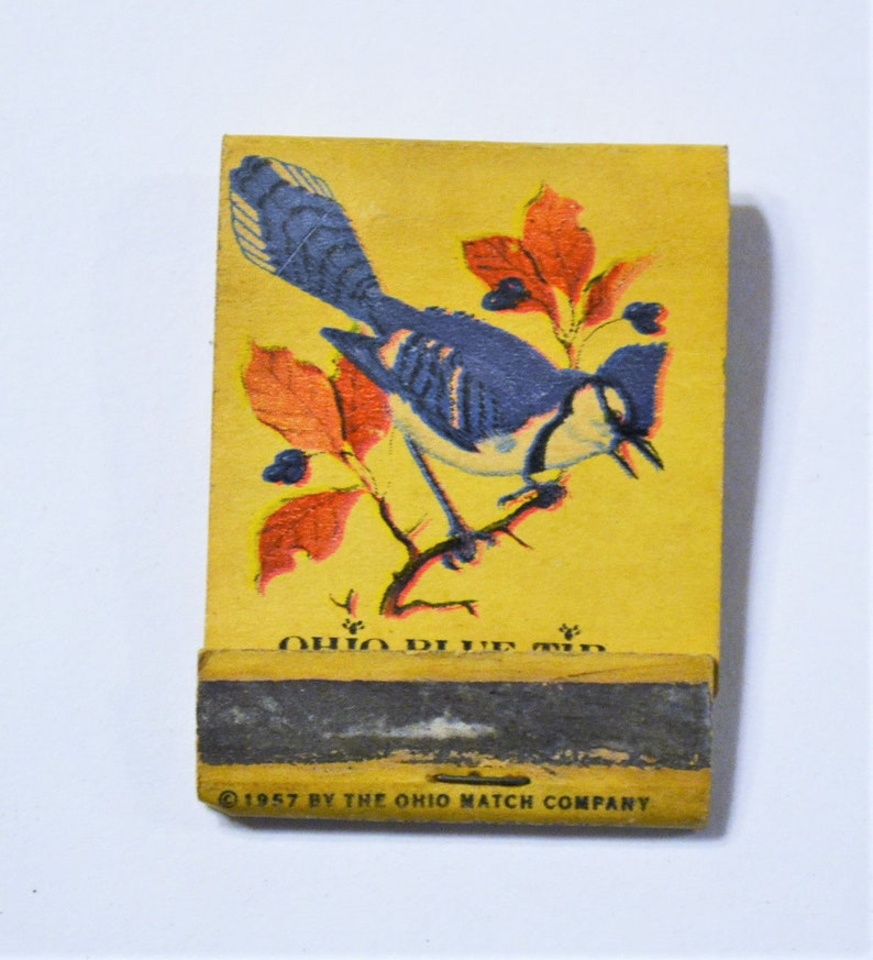 Vintage Ohio Blue Tip Matches Matchbook Blue Jay Bird image 0