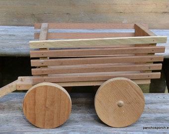 Vintage Rustic Wood Wagon Handmade Wooden Toy Primitive Farmhouse Photo Prop Display Decor Centerpiece Panchosporch