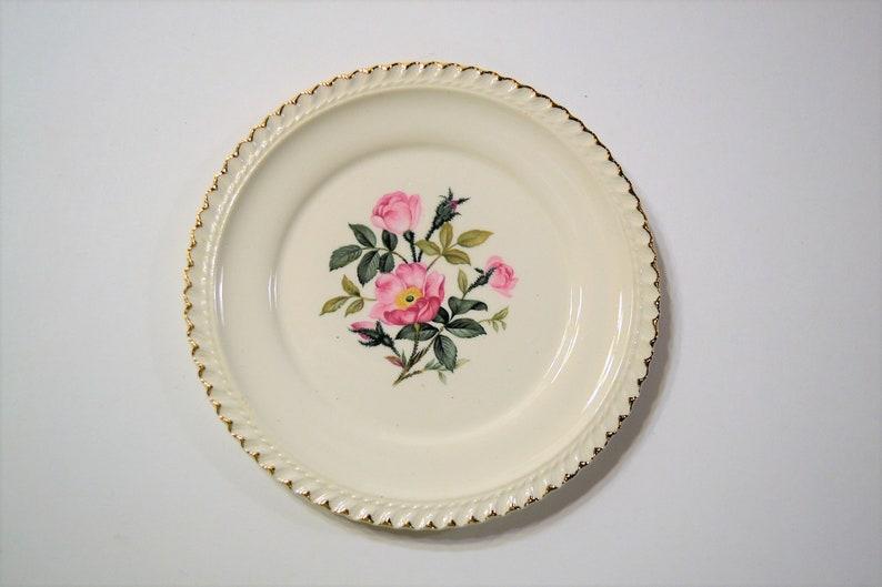Vintage Harker Pottery Wild Rose Bread Plate Pink Rose Floral image 0