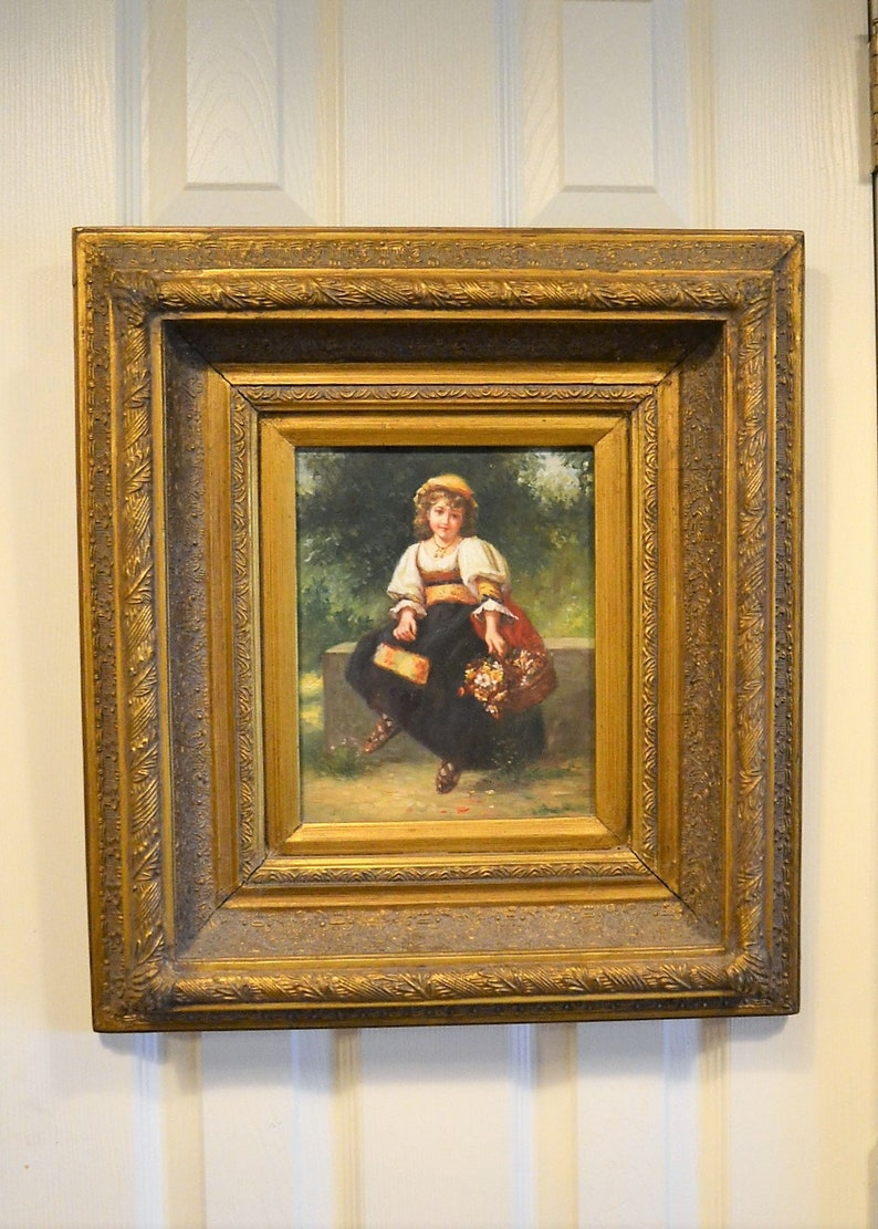 Vintage Portrait Oil Painting Girl Holding Basket of Flowers image 0