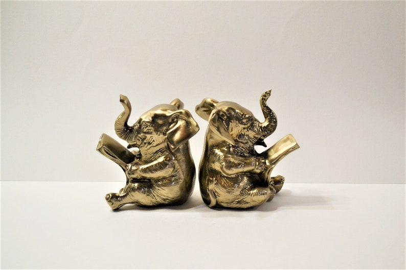 Vintage Brass Elephant Bookends Sitting Elephant Reading Book image 0