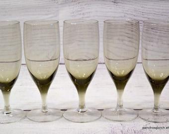 Vintage Smoky Gray Cordial Glass Set of 6 Cocktail Port Wine Delicate Stemware Small Wine Glass Mid Century Barware PanchosPorch