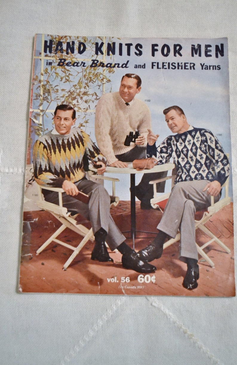Hand Knits for Men 1961 Bear Brand Fleisher Yarns Sweater image 0