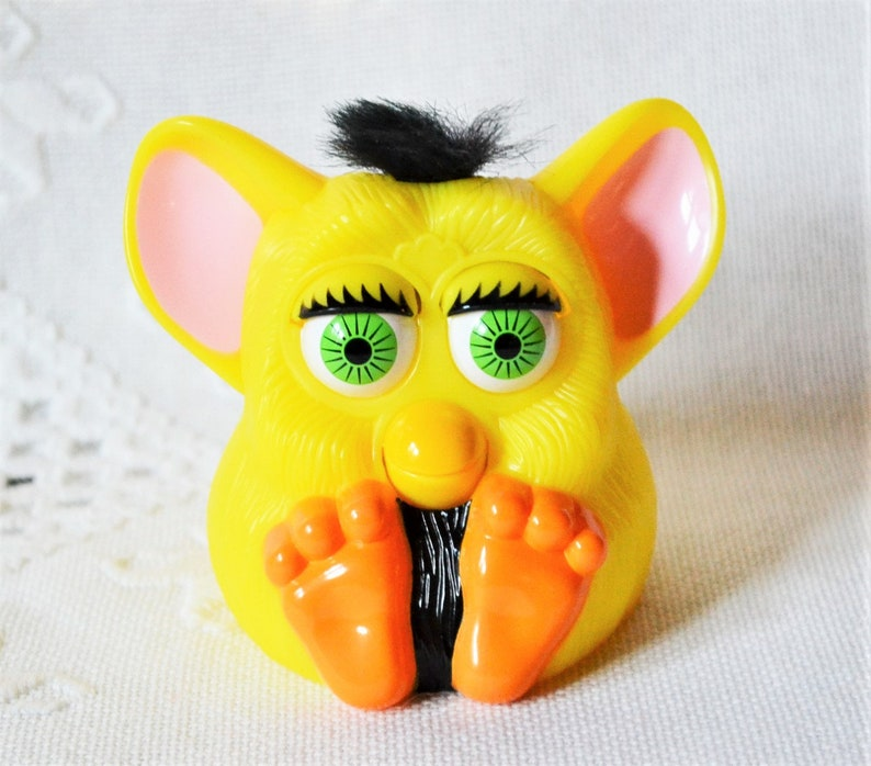Vintage Furby Toy McDonalds Happy Meal Toy Yellow Black Hair image 0