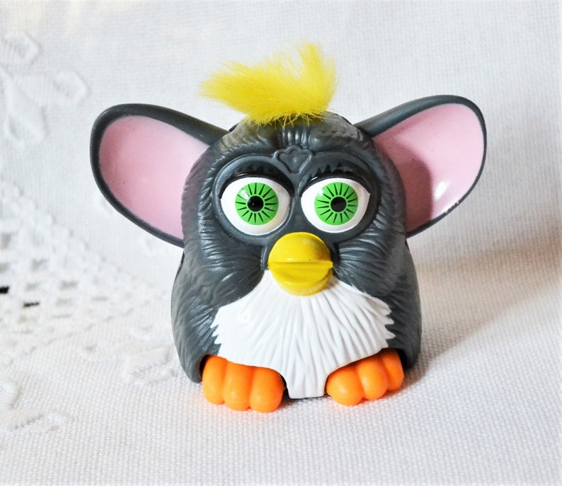 Vintage Furby Toy McDonalds Happy Meal Toy Gray Yellow Hair image 0