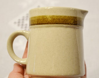Vintage Country Living Creamer Beige Tan Brown Stripe Stoneware Japan PanchosPorch