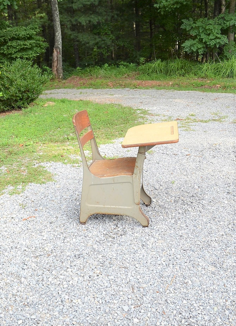 Vintage Metal Crusader School Desk and Chair Gray Small Child image 0