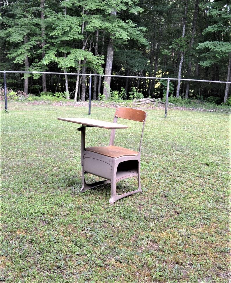 Vintage School Desk Child Size Envoy Beige Putty Retro Metal image 0