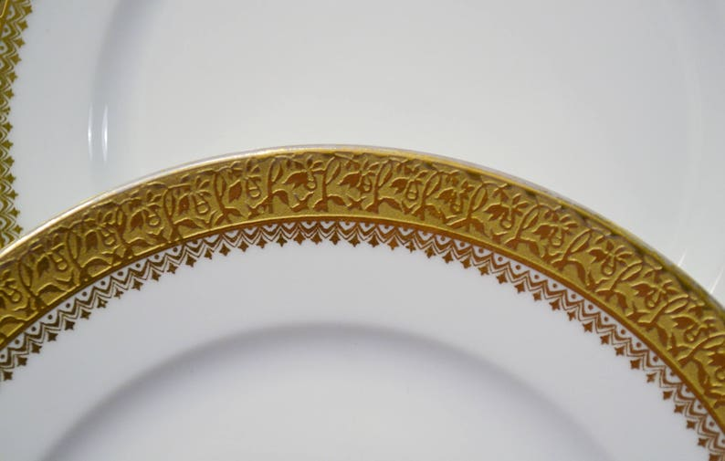Vintage Limoges Gold Encrusted Bread Plate Set of 3 C Ahrenfeldt Backstamp France Collectible Dinnerware PanchosPorch