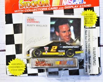 Vintage Rusty Wallace 2 Diecast Car 1/64 Scale 1995 Trading Card Stock Car Racing Champions NASCAR Memorabilia Panchosporch