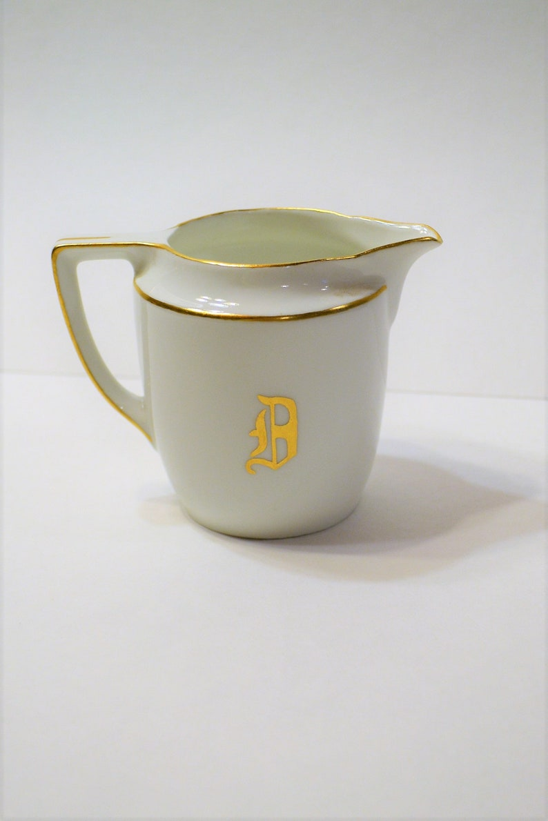 Vintage Weimar Creamer White with Gold Monogrammed B Signed M image 0