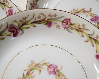 Vintage Shofu Soup Bowl Set of 4 Pink Flowers Green Leaves Mid Century Dinnerware Japan Panchosporch