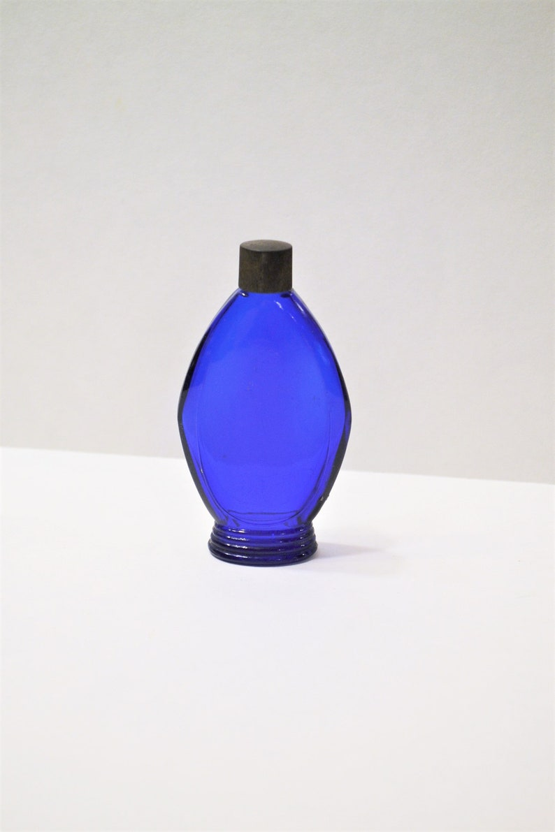 Vintage Cobalt Blue Glass Perfume Bottle with Lid Bourjois 4 image 0