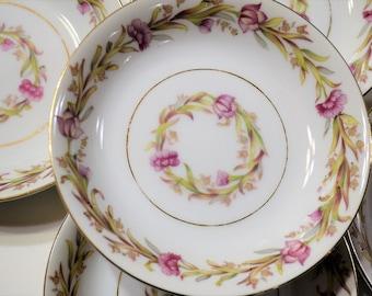 Vintage Shofu Fruit Bowl Set of 4 Pink Flowers Green Leaves Mid Century Dinnerware Japan Panchosporch