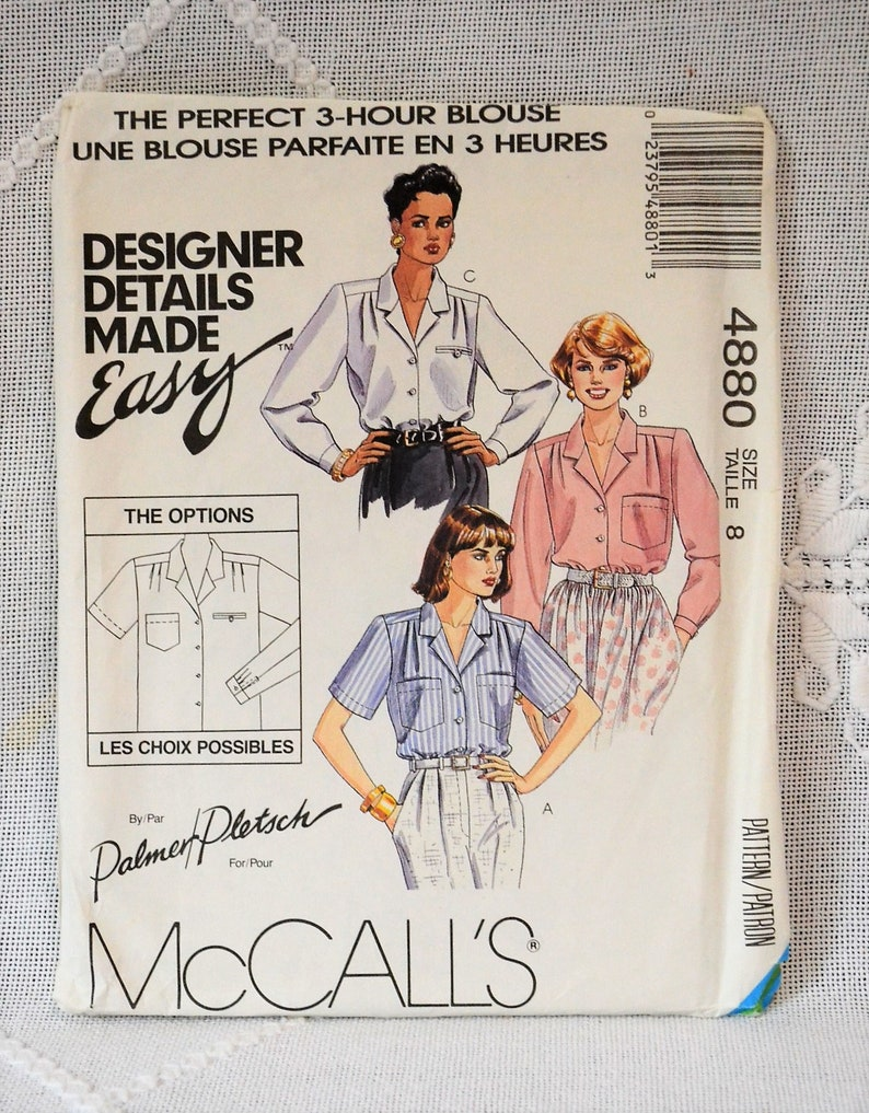 McCalls 4880 Sewing Pattern Misses 3 Hour Blouse Size 8 image 0