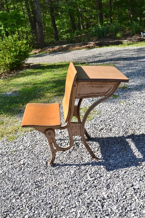 image 0 - Vintage Childs School Desk And Chair Metal And Wood ASC Old School  Furniture Home Schooling Photo Prop Display PanchosPorch