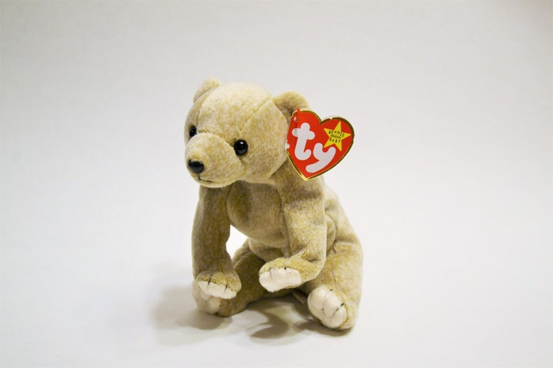 Vintage Ty Almond Beanie Baby Plush Toy Brown Bear Collectible image 0