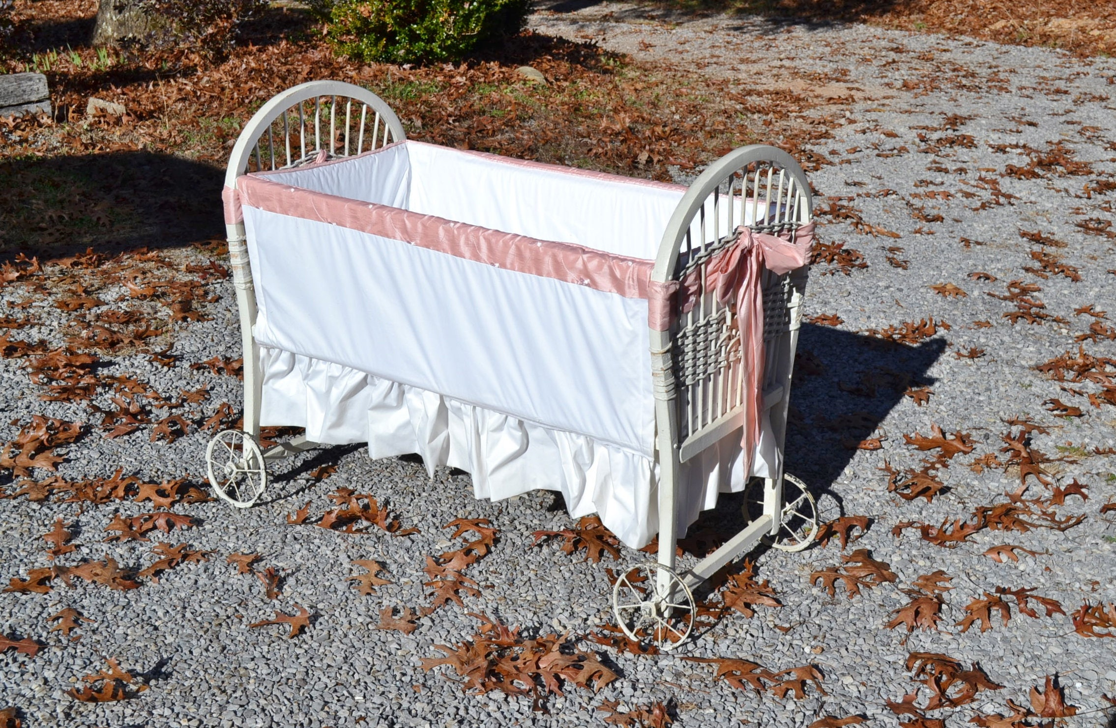 antique baby bassinet crib cradle white chippy paint woven 87956