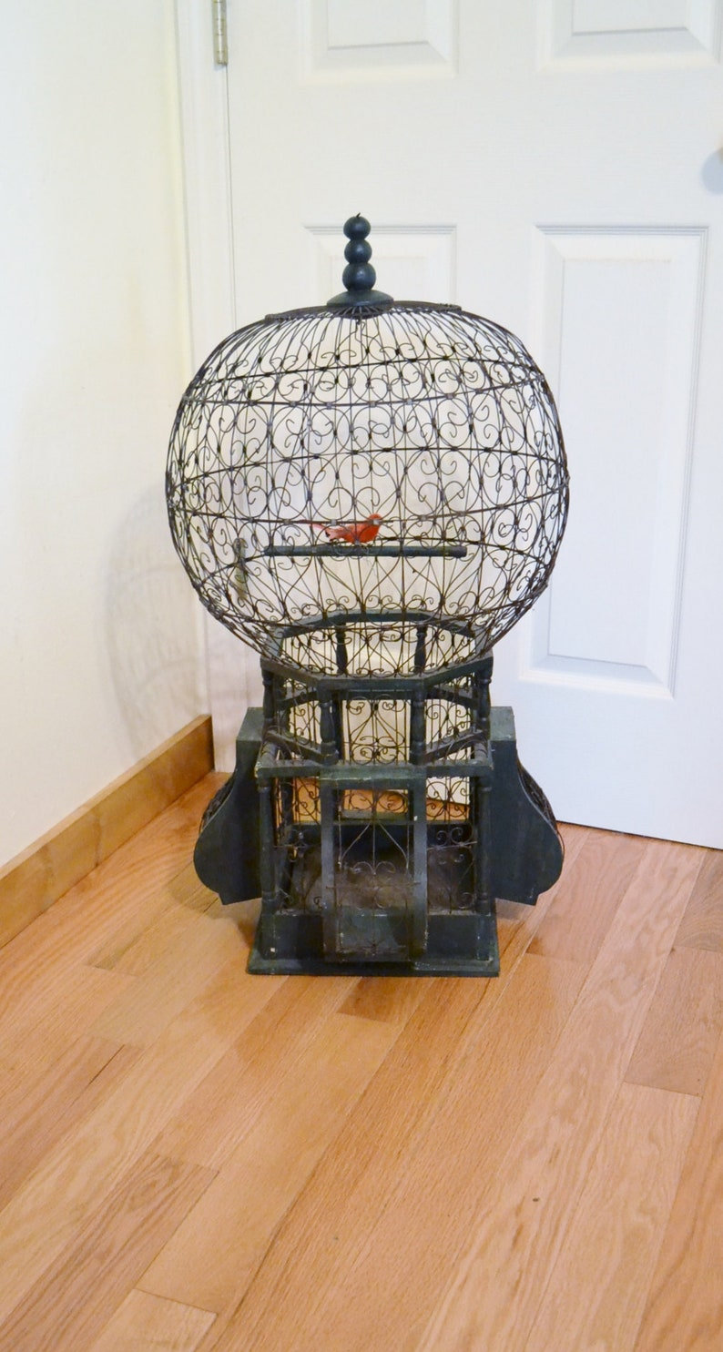 Vintage Balloon Birdcage Wire and Wood 33 Inch Tall Antique image 0