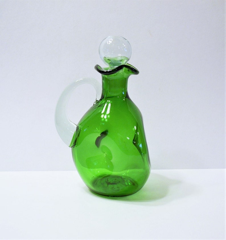 Vintage Green Pinch Glass Decanter with Stopper Blown Art image 0