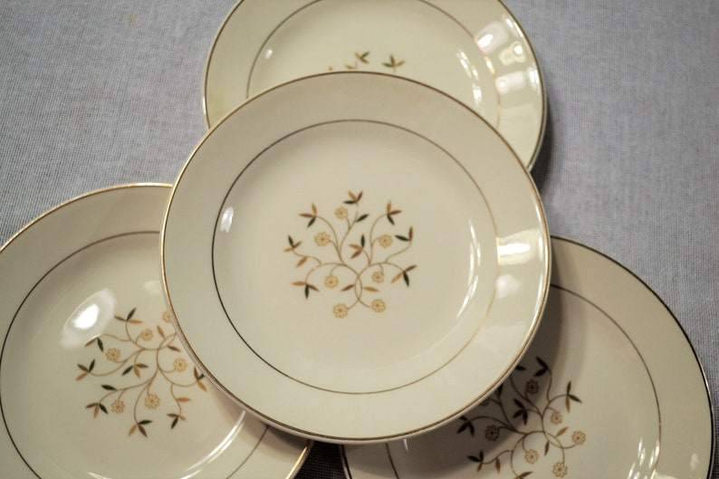 Vintage Floral Dessert Plate Set of 4 Earthy Neutral Colors image 0